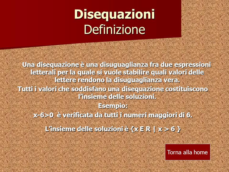 Disequazioni Definizione
