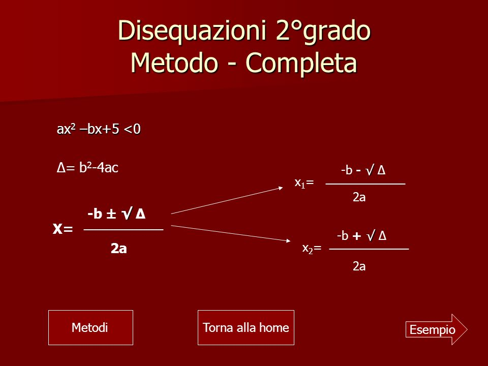 Disequazioni 2°grado Metodo - Completa