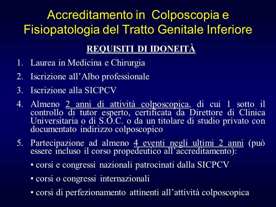 Accreditamento in Colposcopia e Fisiopatologia del Tratto Genitale Inferiore