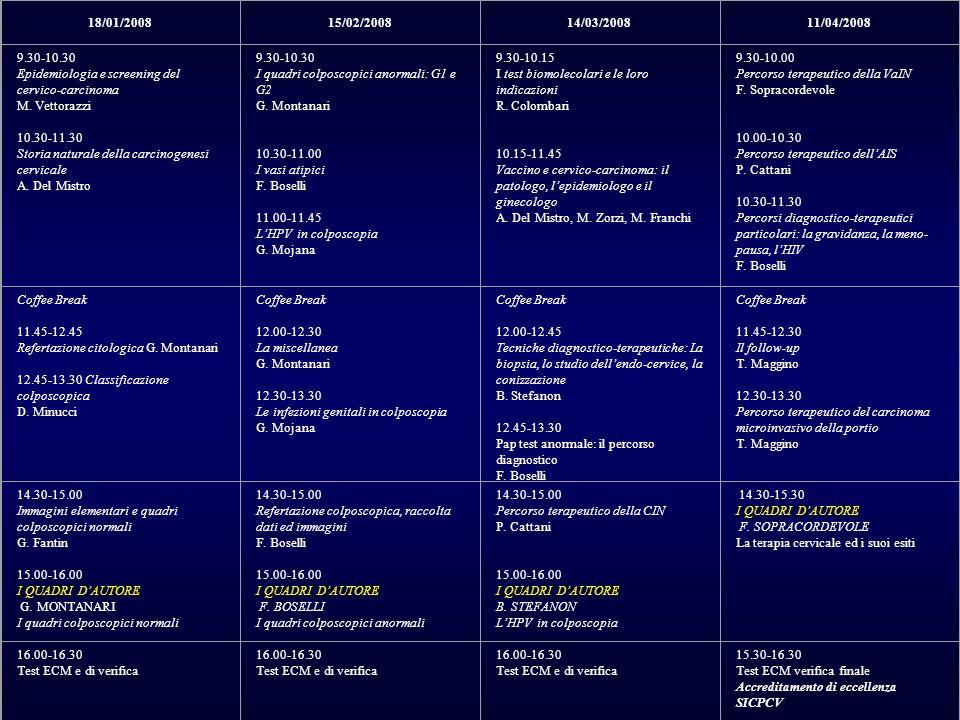 18/01/2008. 15/02/2008. 14/03/2008. 11/04/2008. 9.30-10.30. Epidemiologia e screening del cervico-carcinoma.