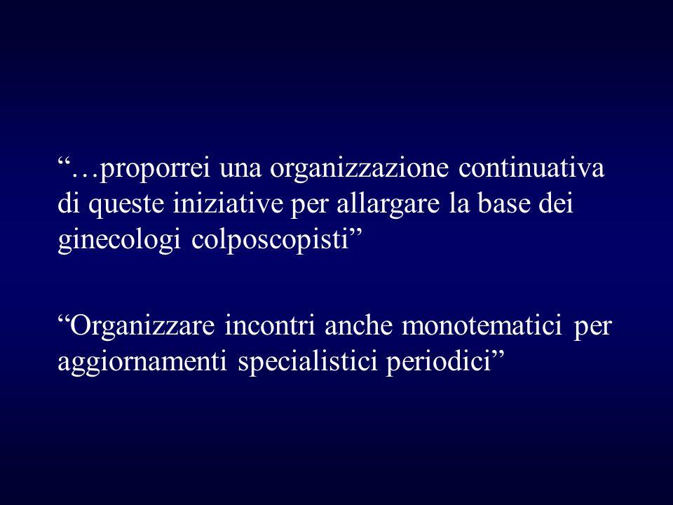 …proporrei una organizzazione continuativa di queste iniziative per allargare la base dei ginecologi colposcopisti