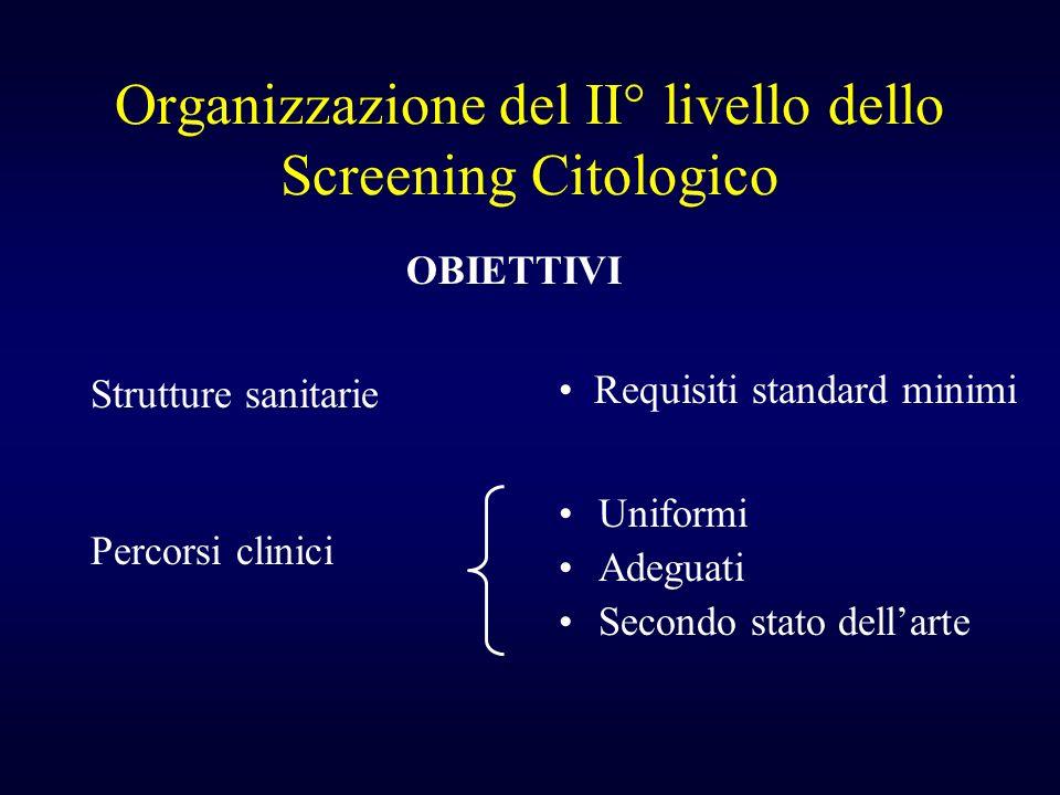 Organizzazione del II° livello dello Screening Citologico