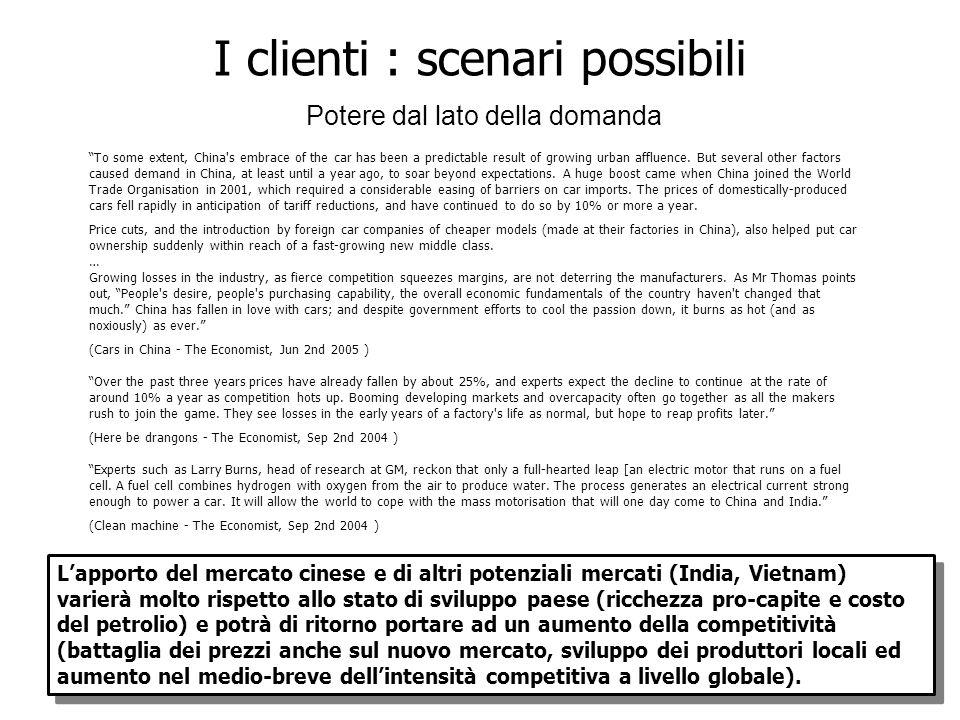I clienti : scenari possibili