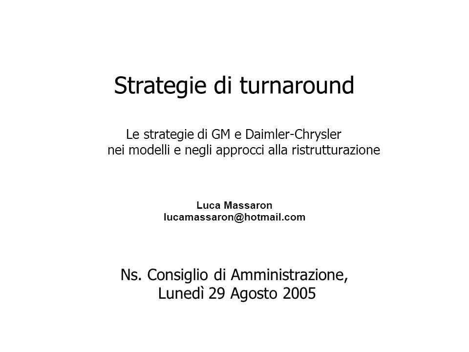 Strategie di turnaround