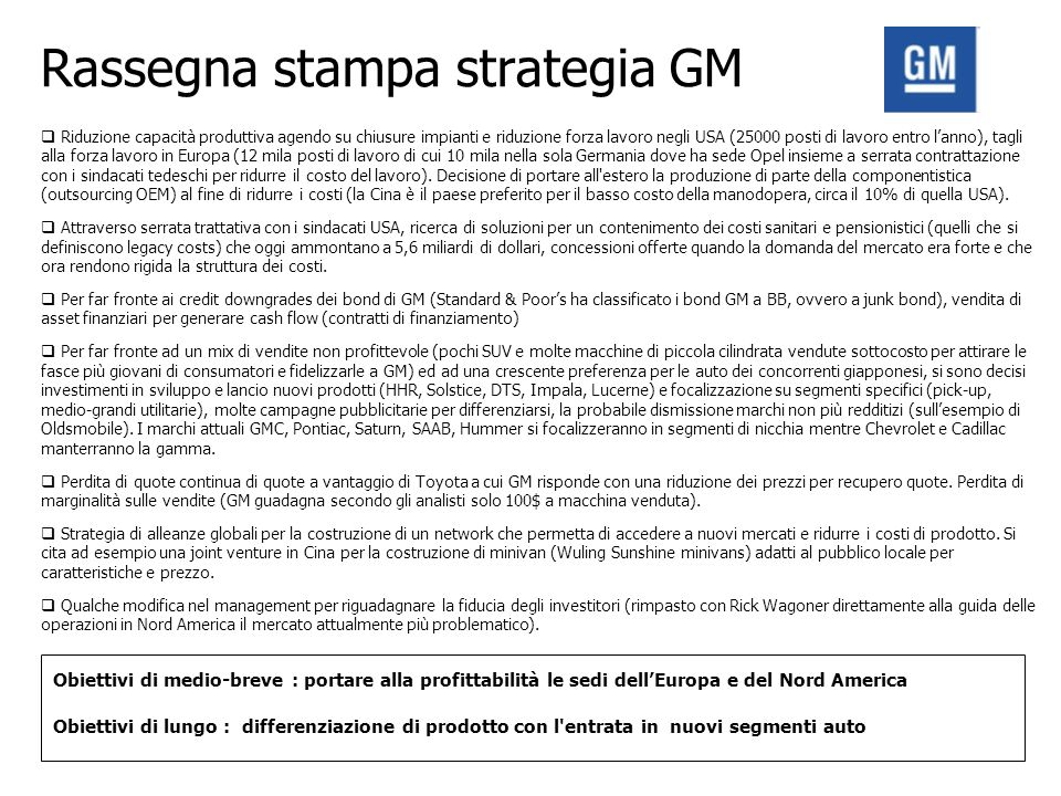 Rassegna stampa strategia GM