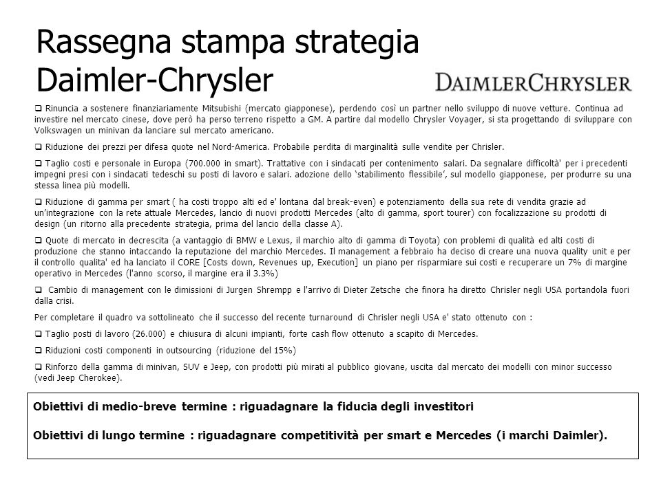 Rassegna stampa strategia Daimler-Chrysler