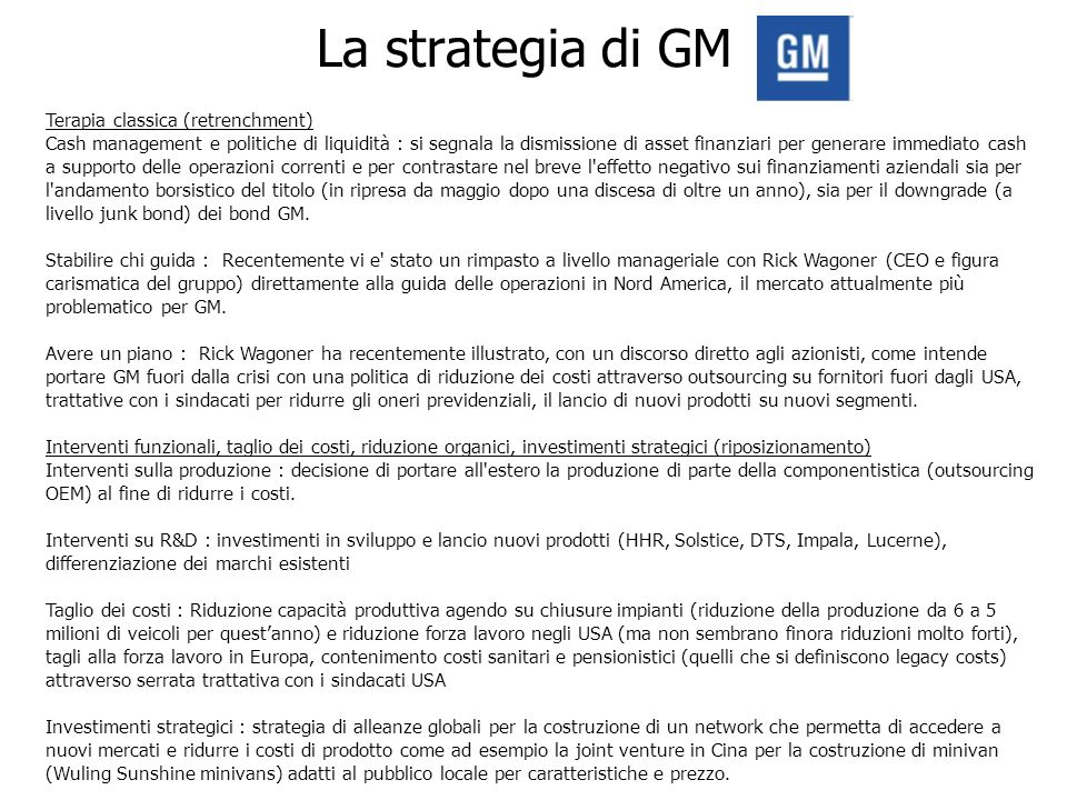 La strategia di GM