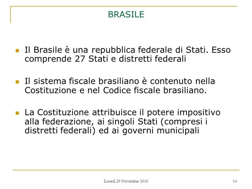 BRASILE Il Brasile è una repubblica federale di Stati. Esso comprende 27 Stati e distretti federali.