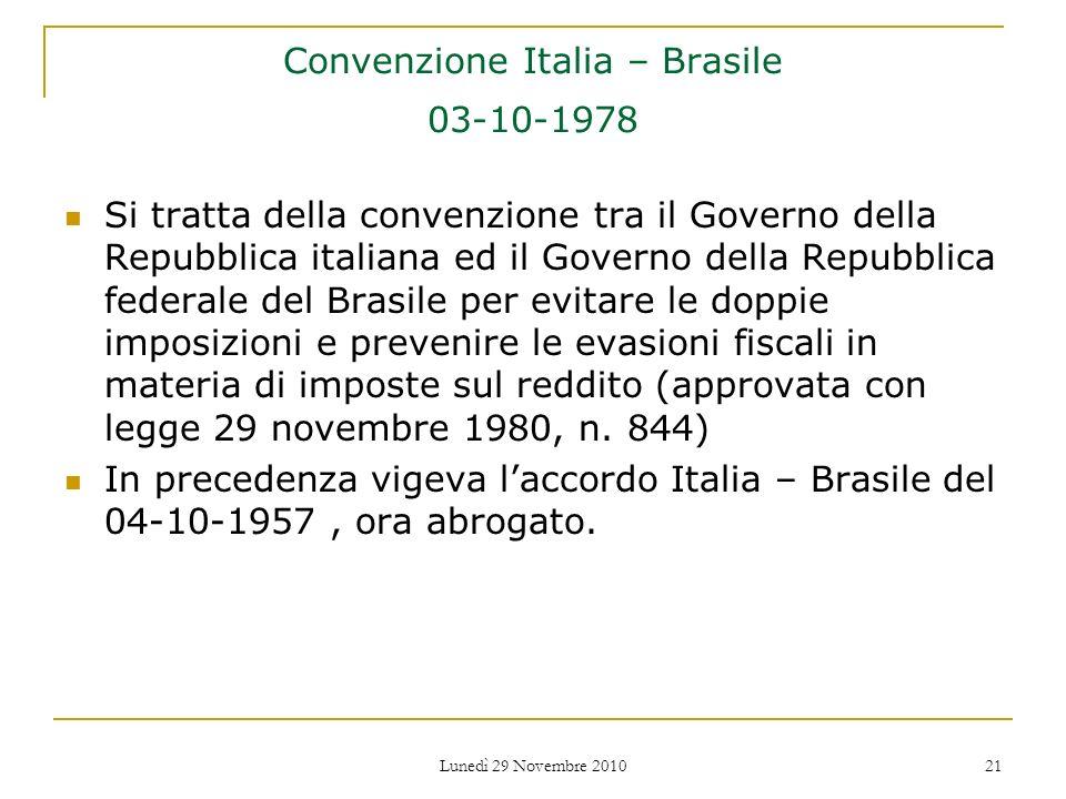Convenzione Italia – Brasile 03-10-1978