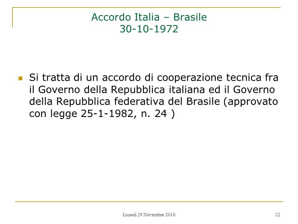 Accordo Italia – Brasile 30-10-1972