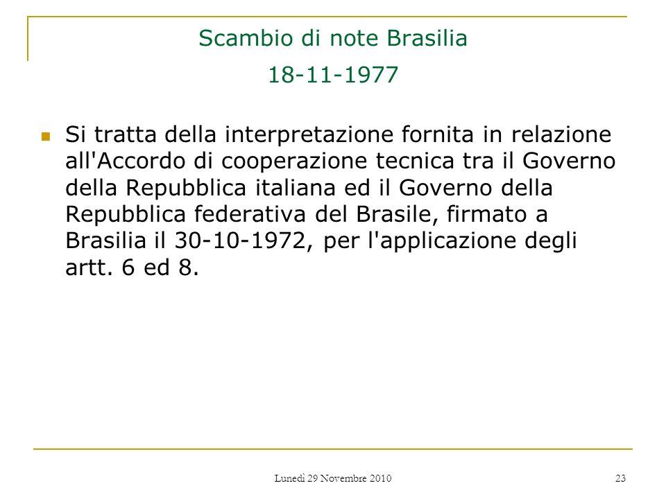 Scambio di note Brasilia 18-11-1977