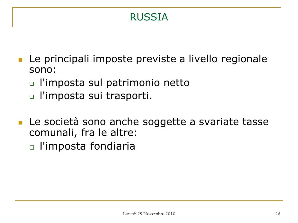 l imposta fondiaria RUSSIA
