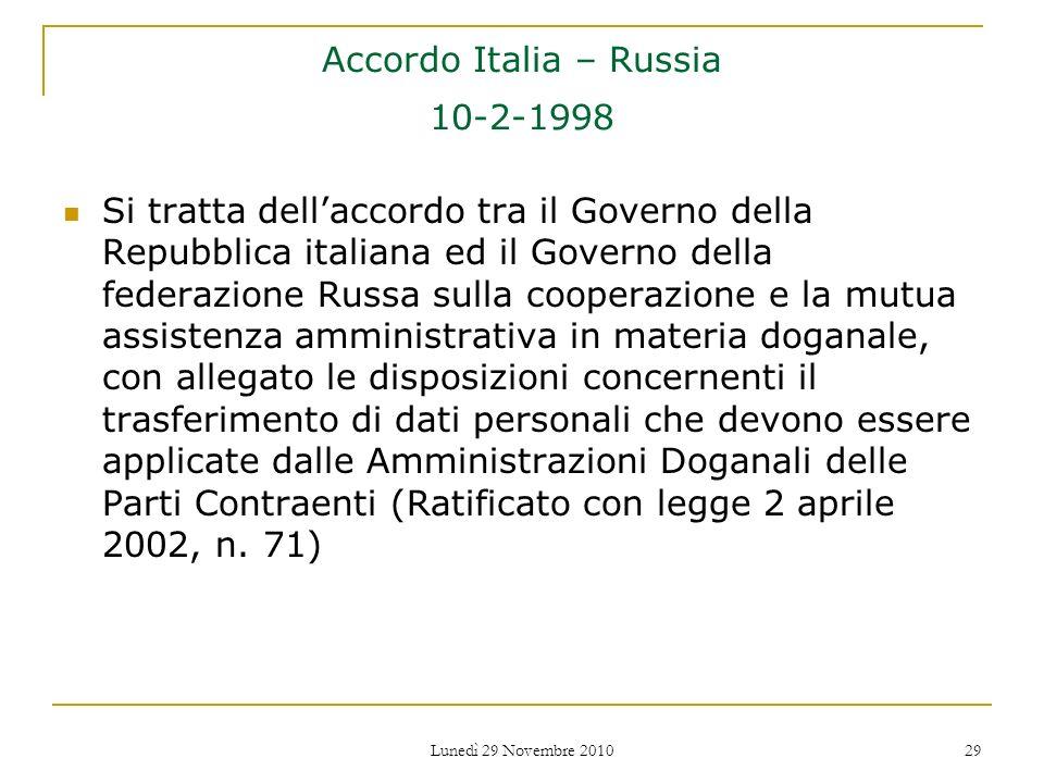 Accordo Italia – Russia 10-2-1998