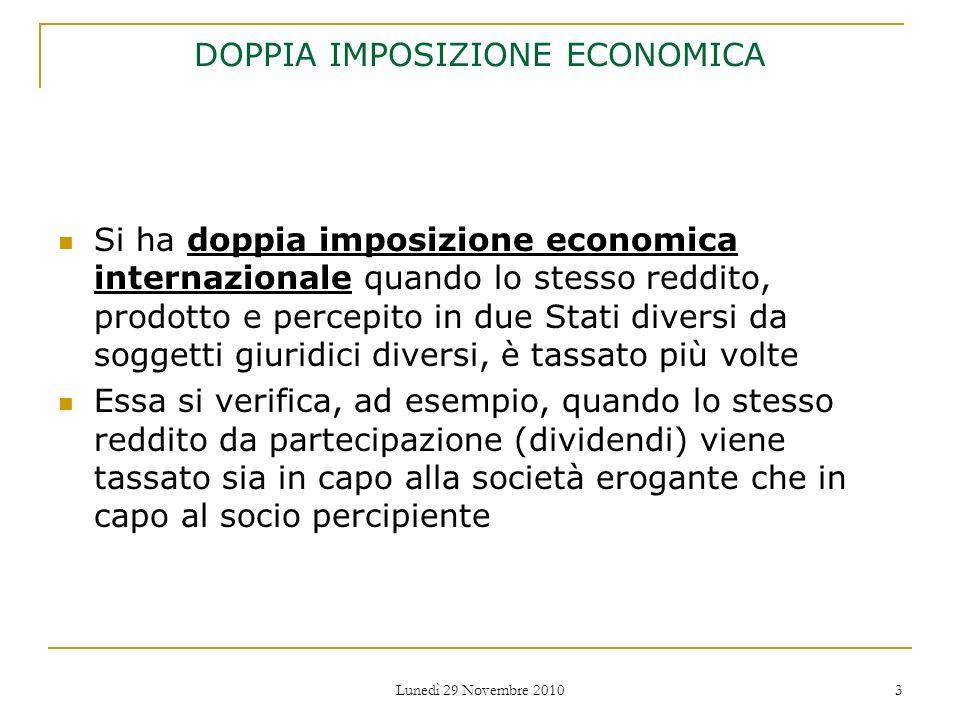 DOPPIA IMPOSIZIONE ECONOMICA