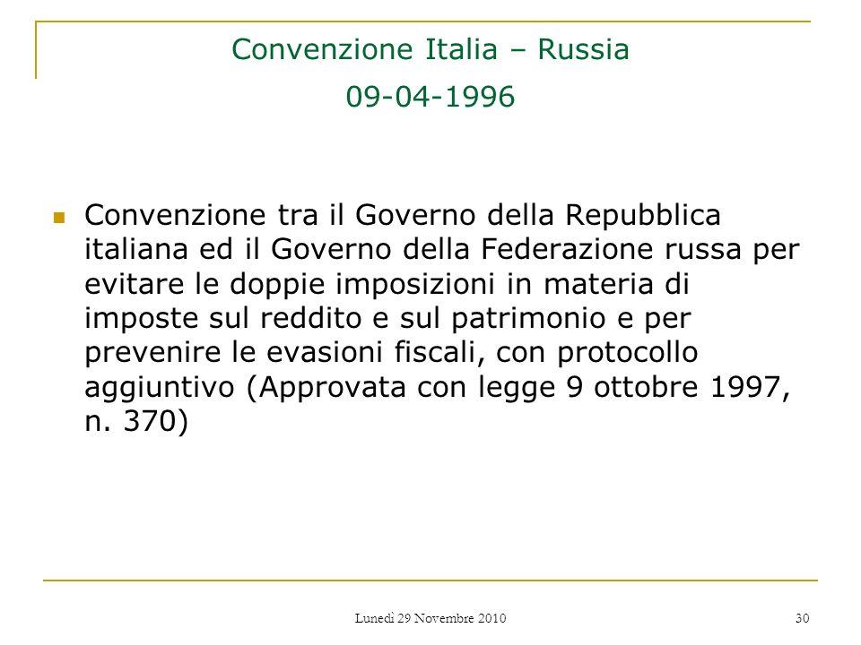 Convenzione Italia – Russia 09-04-1996