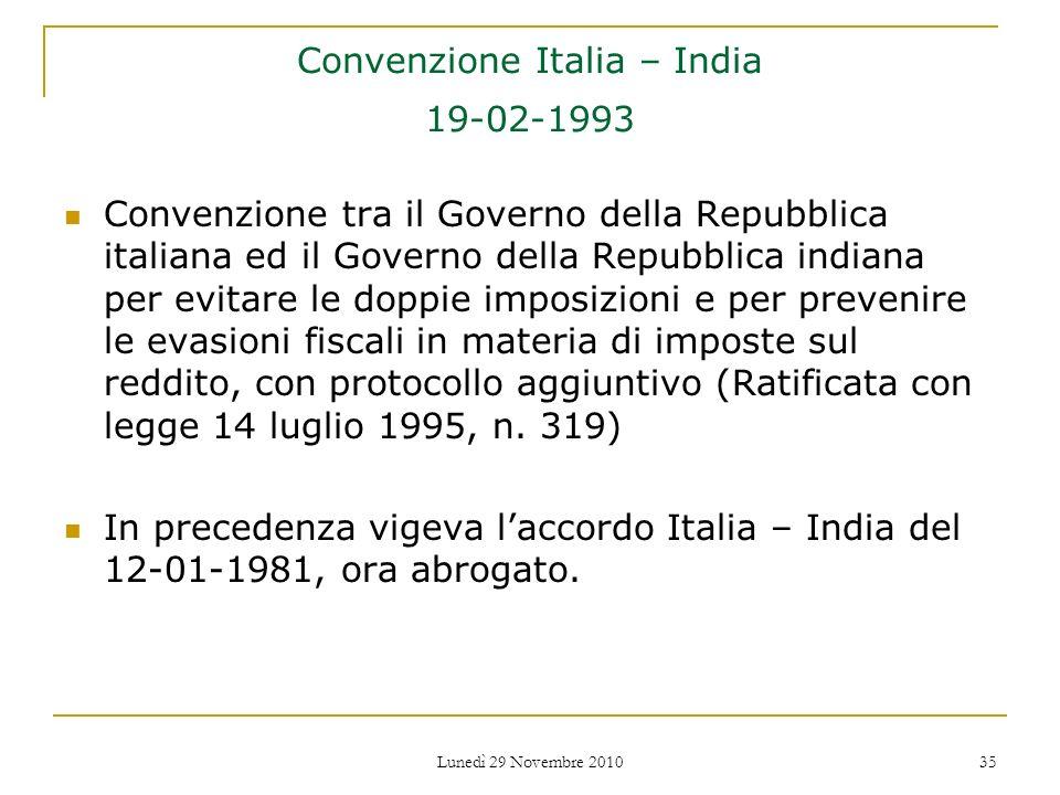 Convenzione Italia – India 19-02-1993