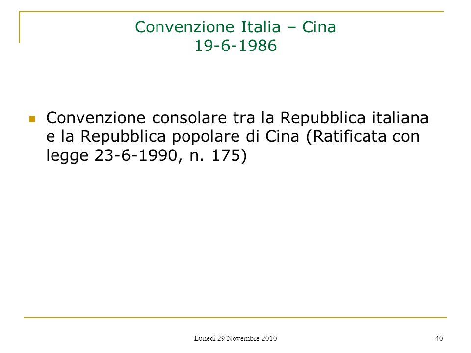 Convenzione Italia – Cina 19-6-1986