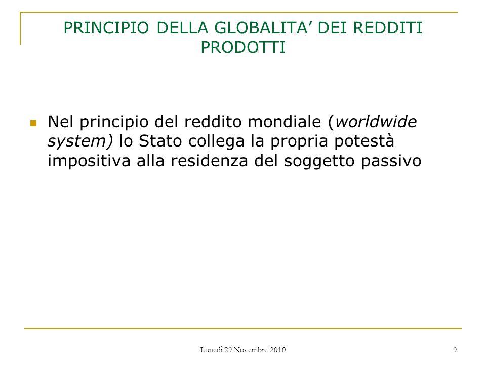 PRINCIPIO DELLA GLOBALITA' DEI REDDITI PRODOTTI