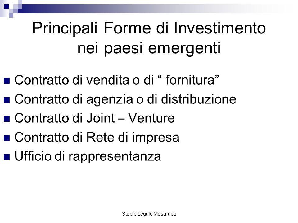 Principali Forme di Investimento nei paesi emergenti