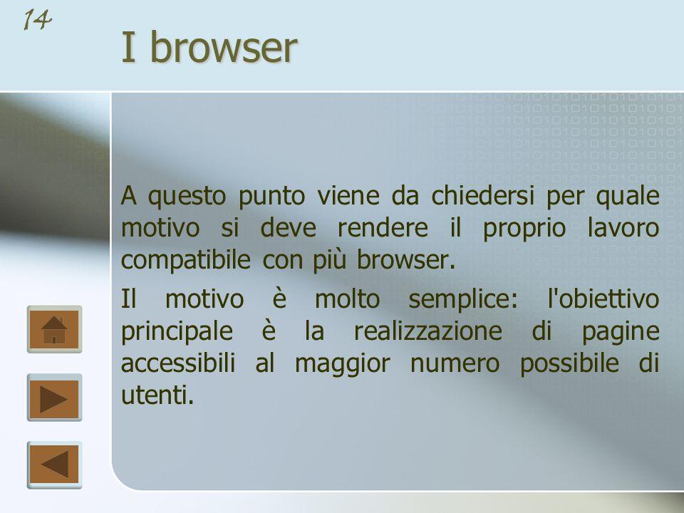 I browser A questo punto viene da chiedersi per quale motivo si deve rendere il proprio lavoro compatibile con più browser.