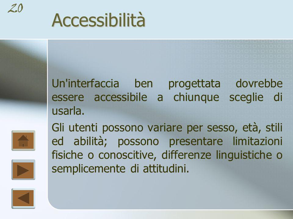 Accessibilità Un interfaccia ben progettata dovrebbe essere accessibile a chiunque sceglie di usarla.