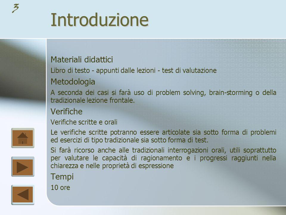 Introduzione Materiali didattici Metodologia Verifiche Tempi