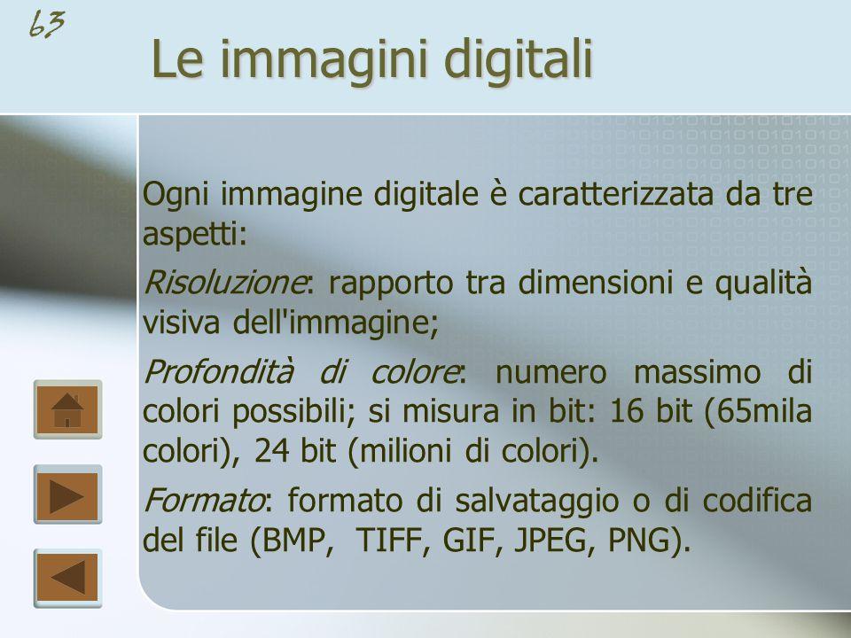 Le immagini digitali Ogni immagine digitale è caratterizzata da tre aspetti: Risoluzione: rapporto tra dimensioni e qualità visiva dell immagine;