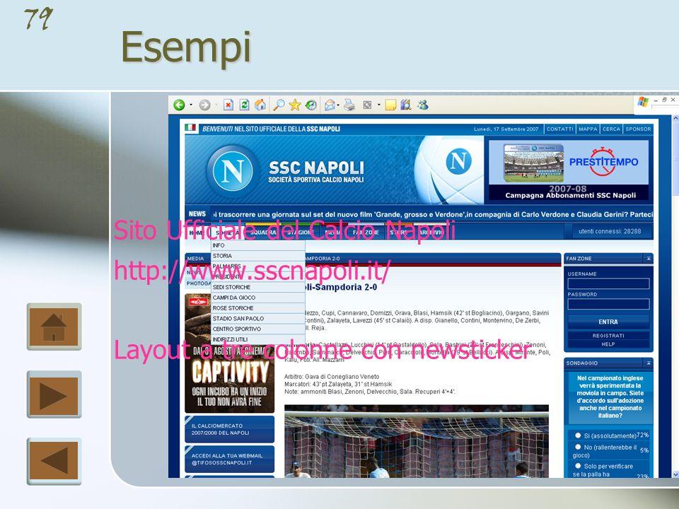 Esempi Sito Ufficiale del Calcio Napoli http://www.sscnapoli.it/