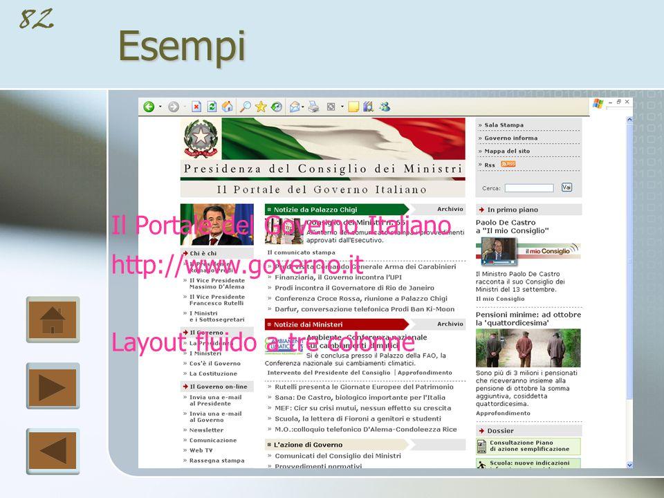 Esempi Il Portale del Governo Italiano http://www.governo.it