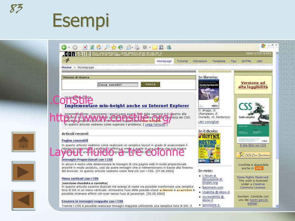 Esempi .ConStile http://www.constile.org/ Layout fluido a tre colonne