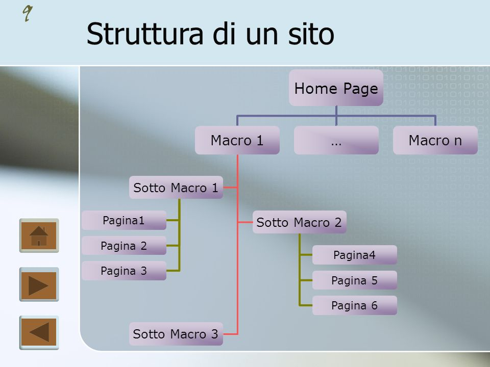 Struttura di un sito Home Page Macro 1 … Macro n Sotto Macro 1