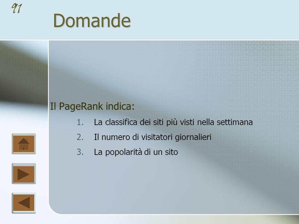 Domande Il PageRank indica: