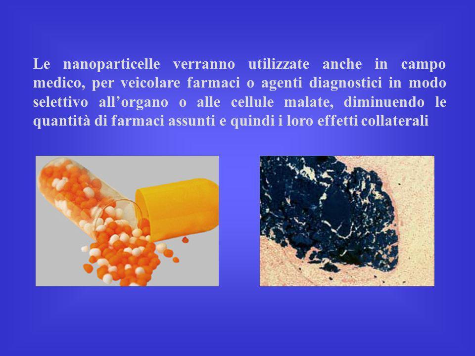 Le nanoparticelle verranno utilizzate anche in campo medico, per veicolare farmaci o agenti diagnostici in modo selettivo all'organo o alle cellule malate, diminuendo le quantità di farmaci assunti e quindi i loro effetti collaterali