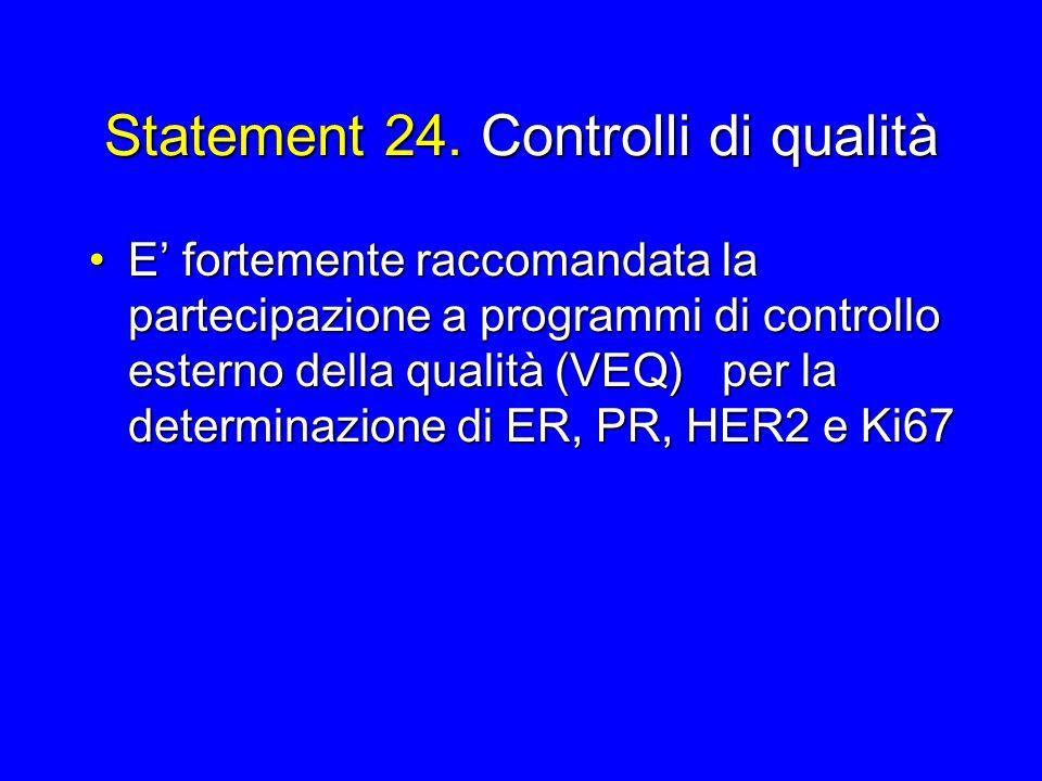 Statement 24. Controlli di qualità