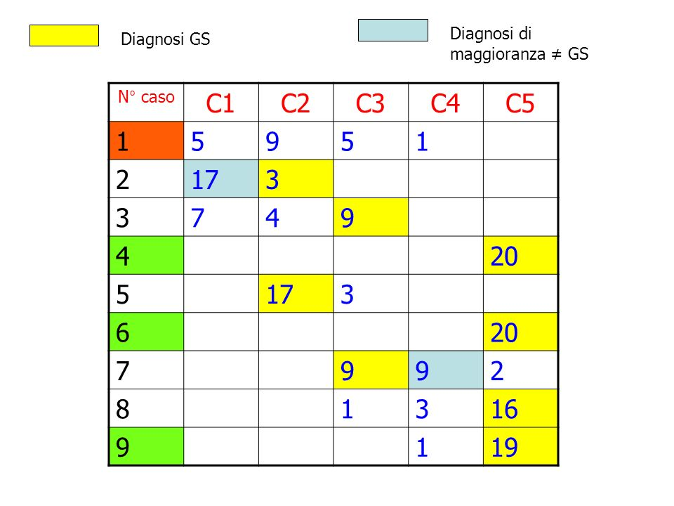 C1 C2 C3 C4 C5 1 5 9 2 17 3 7 4 20 6 8 16 19 Diagnosi di Diagnosi GS