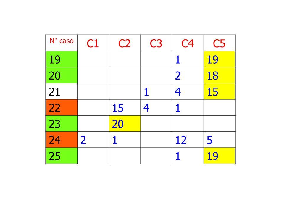 N° caso C1 C2 C3 C4 C5 19 1 20 2 18 21 4 15 22 23 24 12 5 25