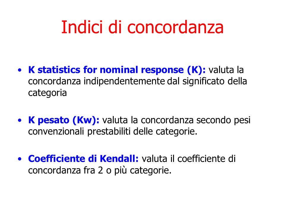 Indici di concordanzaK statistics for nominal response (K): valuta la concordanza indipendentemente dal significato della categoria.