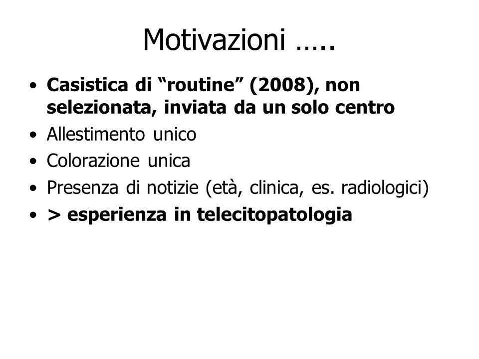 Motivazioni …..Casistica di routine (2008), non selezionata, inviata da un solo centro. Allestimento unico.