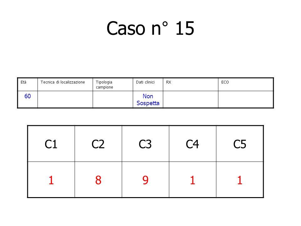 Caso n° 15 C1 C2 C3 C4 C5 1 8 9 60 Non Sospetta Età
