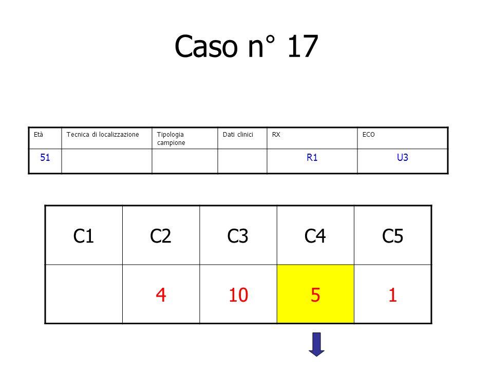 Caso n° 17 Età. Tecnica di localizzazione. Tipologia campione. Dati clinici. RX. ECO. 51. R1.