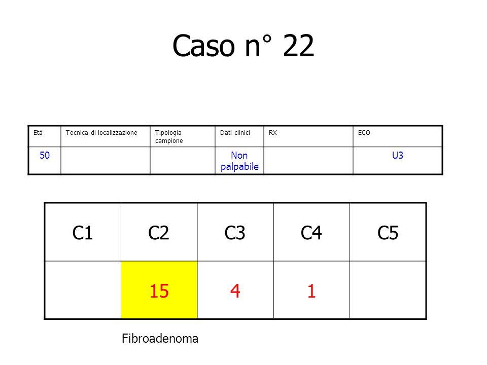 Caso n° 22 C1 C2 C3 C4 C5 15 4 1 Fibroadenoma 50 Non palpabile U3 Età