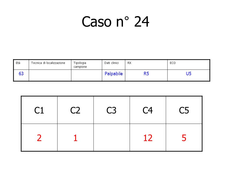 Caso n° 24 C1 C2 C3 C4 C5 2 1 12 5 63 Palpabile R5 U5 Età