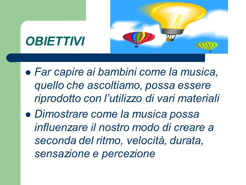 OBIETTIVI Far capire ai bambini come la musica, quello che ascoltiamo, possa essere riprodotto con l'utilizzo di vari materiali.