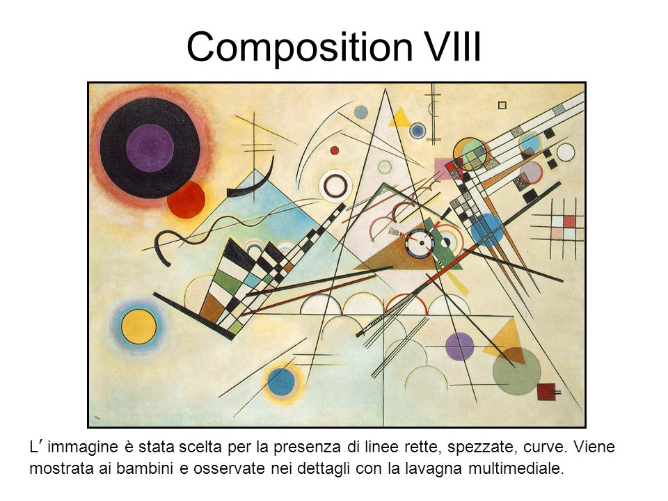 Composition VIII L' immagine è stata scelta per la presenza di linee rette, spezzate, curve. Viene.