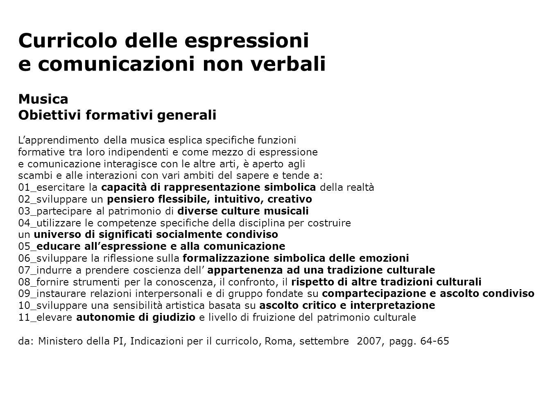 Curricolo delle espressioni e comunicazioni non verbali