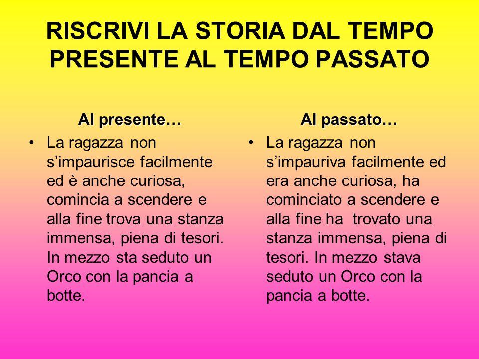 RISCRIVI LA STORIA DAL TEMPO PRESENTE AL TEMPO PASSATO