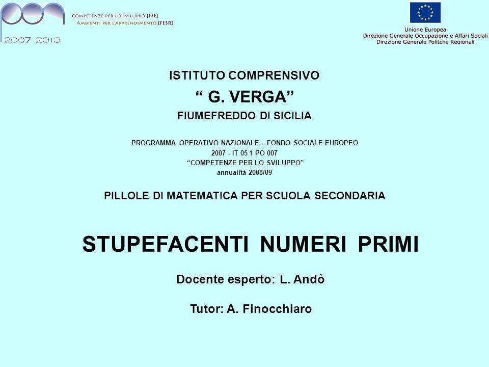 ISTITUTO COMPRENSIVO G. VERGA FIUMEFREDDO DI SICILIA. PROGRAMMA OPERATIVO NAZIONALE - FONDO SOCIALE EUROPEO.