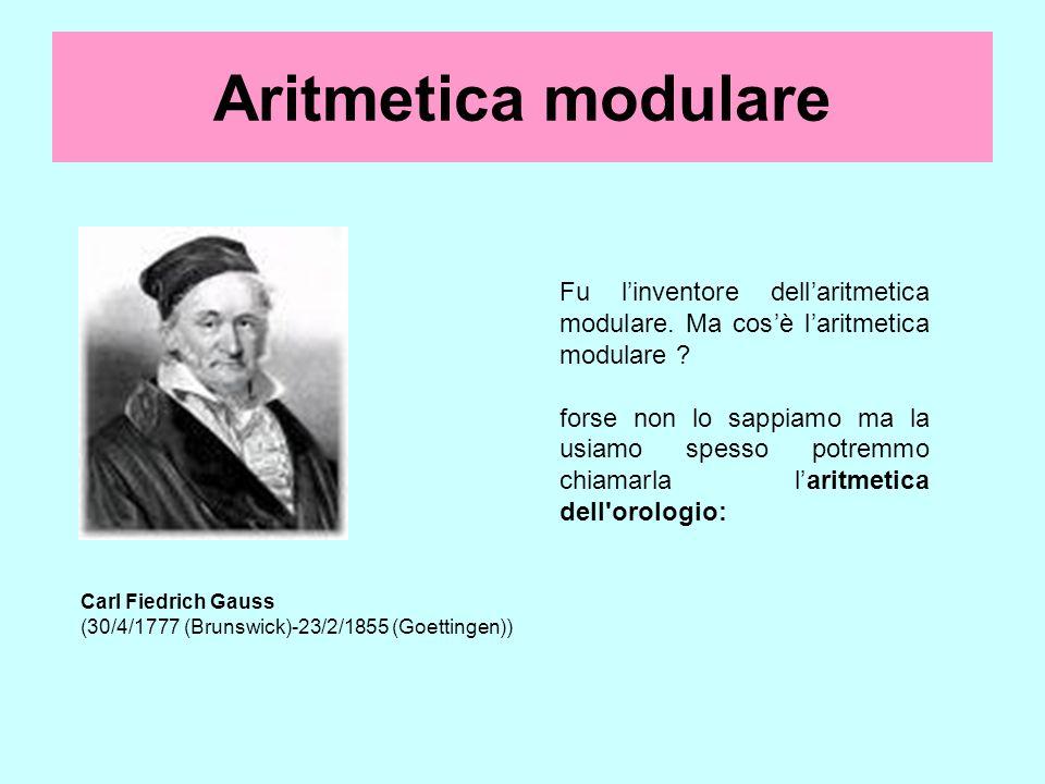 Aritmetica modulare Fu l'inventore dell'aritmetica modulare. Ma cos'è l'aritmetica modulare