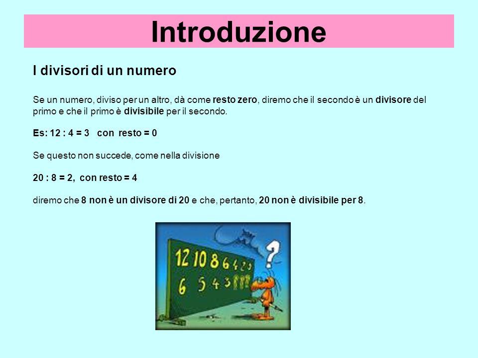 Introduzione I divisori di un numero