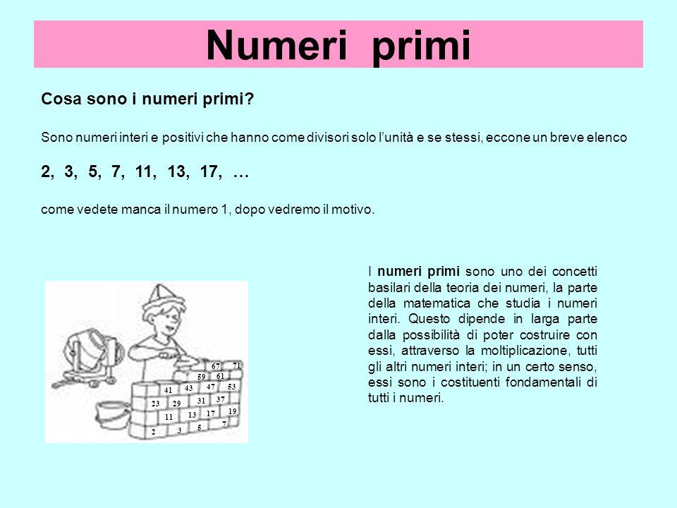Numeri primi Cosa sono i numeri primi 2, 3, 5, 7, 11, 13, 17, …